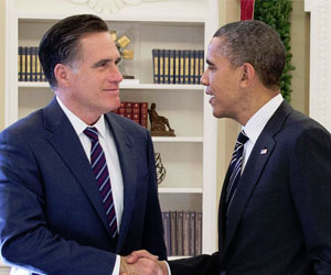 Mitt Romney and Barack Obama in the Oval Office by Pete Souza