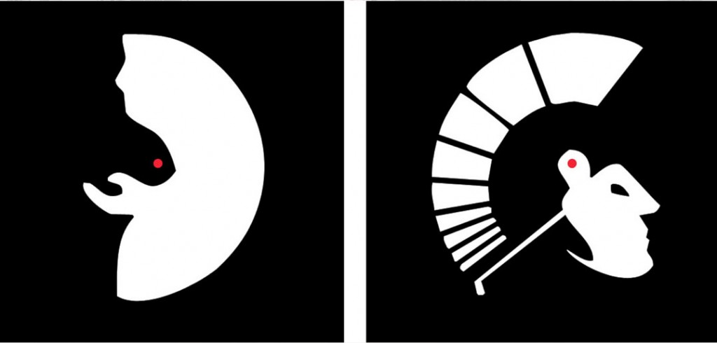 Reversible perspective figures: a man's face or old woman begging (left); a Spartan soldier head and helmet or a golfer swinging (right).