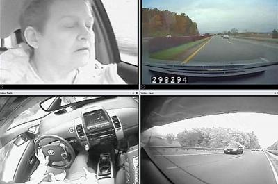 The Virginia Tech Transportation Institute naturalistic driving study method involves equipping vehicles with unobtrusive instrumentation, including an advanced suite of radars, sensors, and cameras -- depicted here with an institute researcher volunteer behind the wheel. The method continuously collects real-world driver performance and behavior.